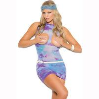 PLUS SIZE LINGERIE One Size Queen Tie Dye Cupless Mini Dress Chemise EM82017Q