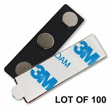 Magnet Name Tag Badge Pin 3-Pole Magnet with 3M Adhesive LOT OF 100 #MAP3-1