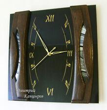 Настенные часы квадратные из черного стекла и дерева стильное украшение интерьер