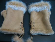 CAMEL SUEDETTE AND FAUX FUR FINGER LESS GLOVES SIZE SML LADIES NEW WITHOUT TAGS.