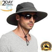 Mens Waterproof Sun Hat, Outdoor Sun Protection Bucket Safari Fishing Golf Cap
