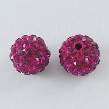 12 trozo de pedrería perlas beads perlas Shamballa fucsia 8 mm (1594)