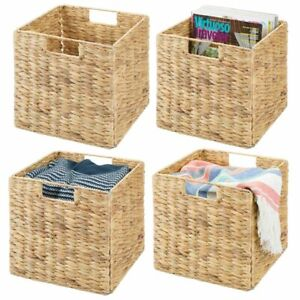 mDesign Woven Hyacinth Home Storage Basket for Cube Furniture, 4 Pack, Natural