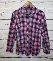 Eddie Bauer Plaid Button Up Shirt Long Sleeve Womens XL Top Purple Pink Blue