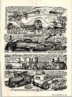 Dave Bell Art Comic Strip Henry Goes To Pleasanton Hot Rod 1987 Cartoon Page