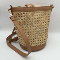 TOMMY BAHAMA Straw Rattan Bucket Bag Drawstring Adjustable Crossbody Strap Tan