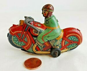 Antique Indian Motorcycle Tin Litho Toy Friction Japan Good Colors #13536