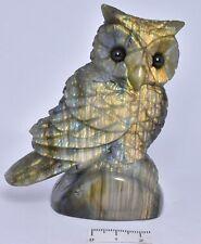 LABRADORITE CRYSTAL OWL CARVING 9 cm P888