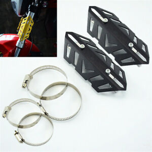 Universal Motorcycle Front Fork Cover Shock Tube Guard Decoration Black CNC 2pcs