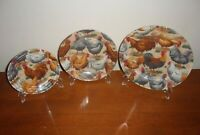 3 Vintage Decorative Farmhouse Hen & Rooster Plates Made in France & 3 Stands
