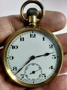 GREAT GOLD PLATED SWISS MADE 16s, 15Js, OPEN FACED POCKET WATCH, FWO!.