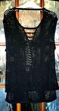 GUESS Ladies Black Cotton Crochet Knit Tunic Vest V Neck Top XS UK 8 NWT