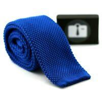 Luxury Mens Solid Knitted Silk/Wool Blend Tie - Plain Woven Necktie (25 Colours)