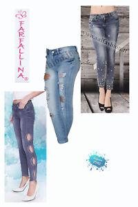 Jeans ragazza donna elastico slim fit vari modelli FARFALLINA