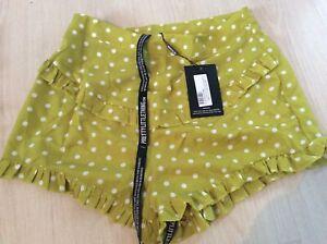 Pretty Little Thing Lime Polkadot Frill Trim Shorts Size 12