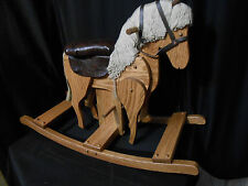 Wooden Galloping Rocking Horse Hobby Horse  Solid Oak Kids Toy Provincial Stain