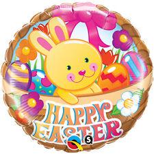 "EASTER PARTY SUPPLIES BALLOON 18"" EASTER BASKET & BUNNY QUALATEX FOIL BALLOON"