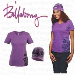 NEW-Billabong Women's T-shirt And Beanie Hat Purple Set – Size L