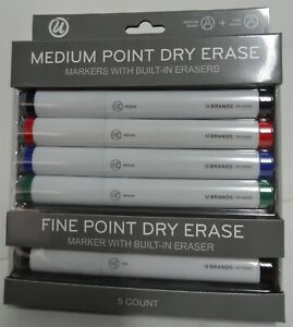 Un-Branded Medium Point Dry Erase 5 Piece Multi Color Built-in Eraser