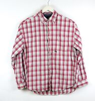 TOMMY HILFIGER JEANS Men's Red White Plaid Flannel Button Down Shirt SIZE L
