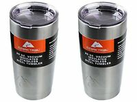 New Ozark Trail 20-Ounce Double-Wall, Vacuum-Sealed Tumbler (2, Silver) Lot