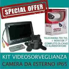 KIT VIDEOSORVEGLIANZA  TELECAMERA 700tvl + MONITOR 7 '' LCD + CAVO+ALIMENTATORE