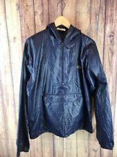 Vintage Izod Lacoste Mens M Blue 1/2 Zip Hood Jacket Kangaroo Pocket Rain 1131