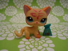 littlest pet shop orange glitter cat # 2118 I Sparkle tube pet