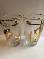 "2 Vintage Libbey 1960's Gold Leaf 5"" Tumblers Glasses Frosted Gold Leaf Foliage"
