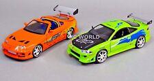 1/24 DieCast TOYOTA SUPRA TURBO + MITSUBISHI ECLIPSE Fast & Furious Model Cars