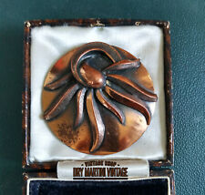 VINTAGE MID CENTURY MODERNIST BROOCH PIN STAMPED GENUINE COPPER LARGE SIZE