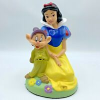 Vintage Disney Snow White and Dopey Dwarf Figurine Hard Plastic Statue