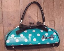 SOURPUSS turquoise & white polka dot floozy purse rockabilly punk tattoo pin up