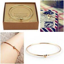 Fashion Women's Gold Heart Charm Chain Bangle Bracelet Cuff Elegant Jewelry Gift