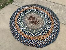 Vintage Handmade Old Braided Rug Made With Multi-Colored Old Fabrics