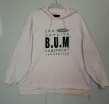 Vintage 1993 Bum Equipment Spellout #1 Quality Thin Hooded Pink Shirt XL (G1)