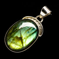 "Labradorite 925 Sterling Silver Pendant 1 3/4"" Ana Co Jewelry P724832F"