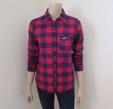 Hollister Womens Plaid Flannel Shirt Size Small Top Blouse Red & Navy Blue