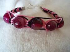 Handcrafted Pink and Black Agate Macrame Bracelet