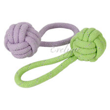 2-pc Pet Toy Ball Knot End with Loop Tug Handle Regular Rope Chew- Colors Vary