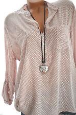 ITALY MODA Tunika DOTS Oversize Hemd Bluse Fischerhemd ALTROSA 42 44 46 NEU