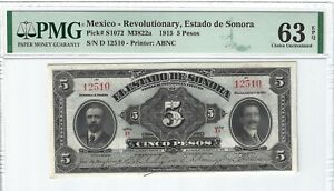 P-S1072 1915 5 Pesos, Mexico, Revolutionary, Estado de Sonora PMG 63EPQ