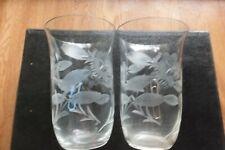Vintage  Etched Flower Pattern  Glasses X 2