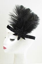 Black Ostrich Feather Headpiece Great Gatsby Flapper Headband 1920s Vintage 907