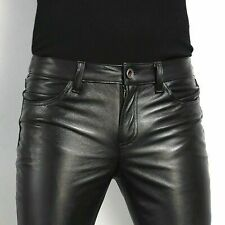 Mens Black Slim Fit Genuine Cowhide Mens Leather Jeans Pant Casual Trouser
