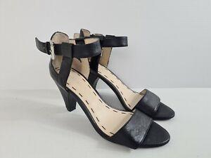 NINE WEST CECE Black Leather Adj. Ankle Strap Open Kitten Heel Women's Size 6M
