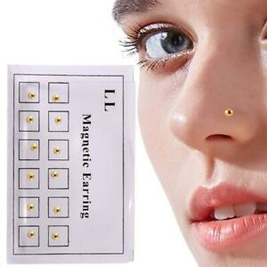 12pcs Gold Magnetic Crystal Fake Ear Studs Earrings Nose Lip Rings Clip US