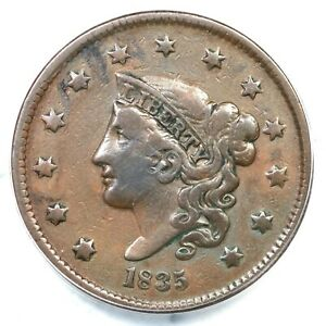 1835 ANACS VF 30 Details Matron or Coronet Head Large Cent Coin 1c