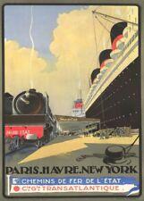 Cie Gle TRANSATLANTIQUE PARIS HAVRE NEW YORK French Travel Poster. Art Deco
