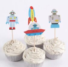 SPACE ROBOTS, Cupcake Toppers, Cake Picks, Paper Cake Toppers Cake Decorations